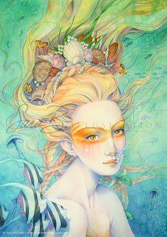 Mermaid Art Print - Orange Tangerine Mermaid Princess Crown of Shells Clown Fish