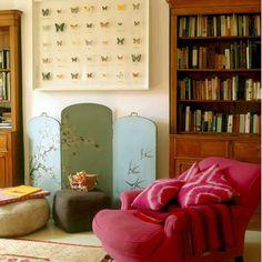 Dark pink chair with monochromatic throw & pillows!!!  Little Green Notebook: Framed Butterflies