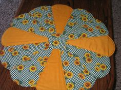 """Dresden Plate Sunflowers  Centerpiece on Green Check with Light Orange Cotton.  24.5"""" by sewcalico65 on Etsy"""