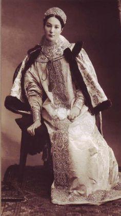 Countess Alexandra Dmitrievna Tolstaya dressed in a XVII century Russian costume for the Romanov Imperial Ball, April 1903.