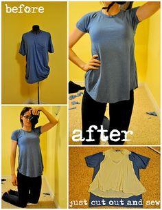 Add feminine flare to a T-Shirt