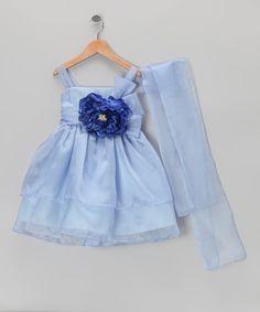 Blue Flower Dress & Shawl - Toddler & Girls #zulily #zulilyfinds