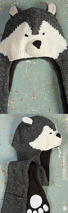 Children's Wolf Handmade Wool Hat Scarf || so cute! Blanket Patterns, Hat Patterns, Knitting Patterns, Crotchet, Knit Crochet, Crochet Hats, Knitted Animals, Knitted Hats, Wolf Hat