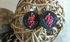 Hand embroidered felt earings ny Rosanna Mignone