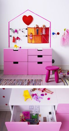 Drawer units can do double duty as dollhouses. Whether it's a mansion or an apartment building is up to your kids' imaginations. Tidying up is a breeze, too. Check out more hidden, simple dollhouse ideas, direct from #IKEAIDEAS