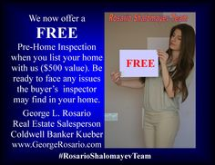 We are now offering a FREE pre-Home Inspection ($500 value) to homeowners who list a home anywhere in #Brooklyn, #Queens or #Manhattan with us in May. Tell your friends. Tell your neighbors. Tell your colleagues. Tell the world. For more info, call me at: 347-671-7653. George L. Rosario,  Real Estate Salesperson at Coldwell Banker Kueber, the  Rosario Shalomayev Team. Find us on YouTube: snip.ly/k2zf7