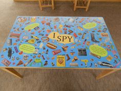 "The ""I Spy"" table in the children's section @ Chambers County Library."