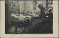 Het schilderij op deze prentbriefkaart, getiteld 'In Brugge', is van de hand van Charles Léon Rousseau (1862-1916) en toont een huiselijk tafereel met een kantwerkster. In de kamer staat een wieg met een kind en achterin zit een jonge vrouw te breien. Let even op de traditionele kleding van beide vrouwen.