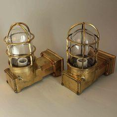 Pair of 90 degree Curved Salavged Brass Passageway lights - Vintage Lights