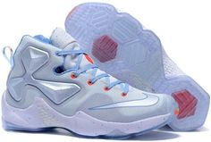 Nike Lebron 13 White Light Blue Red For Kids Nike Kids Shoes d5ee13361