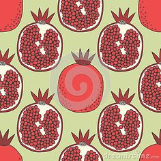 Seamless fruit pattern of pomegranates