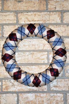 Argyle Winter / Fall Yarn Wreath