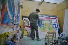 Pigsy in his studio Expressionist Artists, Dublin City, Barbican, His Travel, Banksy, Travel Around The World, Art Blog, Painting, Painting Art