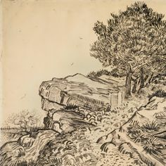 The rock of montmajour with pine trees arles, july 1888 vincent van gogh Landscape Sketch, Tree Sketches, Sketches, Drawings, Elements Of Art, Art Van, Van Gogh Drawings, Art, Van Gogh Museum
