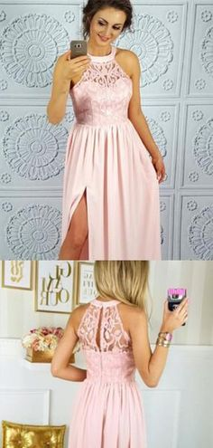 88163f70924e Pink Halter Lace Top Long A-Line Side Slit Chiffon Prom Dresses