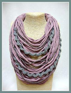 Pink & grey t-shirt yarn necklace- scarf necklace- textile jewelry- organic necklace- ecofriendly- upcycled necklace- handmade- silk stripes by veniakriezia on Etsy