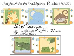 JUNGLE ANIMALS WALLPAPER wall art border decals baby boy nursery or children's safari room decor. Includes a giraffe, elephant, monkey, alligator, and frog #decampstudios