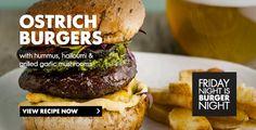 Ostrich burger with hummus, halloumi and grilled garlic mushrooms. Garlic Mushrooms, Stuffed Mushrooms, Ostrich Meat, Burger Night, Wild Game Recipes, Halloumi, Burger Recipes, Burgers, Hummus