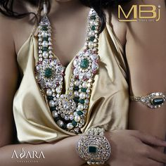 Polki necklace and bracelets with emerald, pearls & rubies from ADARA collection of MBj.