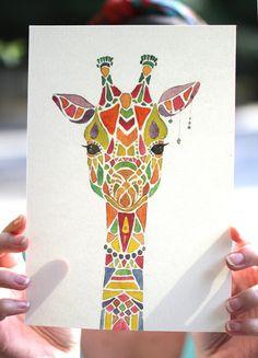 Aquarell/Tusche-Tier-Giraffe 1 von MakeNiceDesignCo auf Etsy