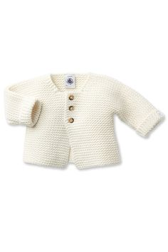 Petit Bateau Baby Cardigan In Wool And Cotton Mix - City Chime 1 M Inches) Baby Cardigan, Cardigan Bebe, White Cardigan, Kids Knitting Patterns, Baby Knitting, Cute Outfits For Kids, Cute Baby Clothes, Moda Online, Kind Mode