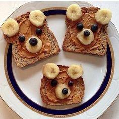 Cute kid food - Peanut Butter and Banana Bears