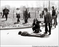 "Kent State; John Paul Filo, 1970  The Kent State protest in Ohio at the news that President Nixon was sending troops into Cambodia drew the presence of the Ohio National Guard, who turned on the crowd and fired, killing four. The horrible image of a young woman crying in anger over the dead body of a student won a Pulitzer Prize for John Filo. The event inspired Neil Young to write the protest song ""Ohio."""