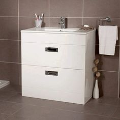 The Aspen Compact 800 floor mounted 2 drawer vanity unit. An implausible and unique range of toilet furniture the Aspen Compact range is designed with a short projection making it ideal for any up to date rest room including small bathrooms and cloakroom bathrooms. This 800 floor mounted unit has t ...