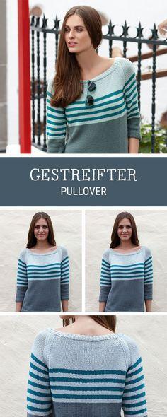 Einfache Strickanleitung für einen schlichten Pullover mit Streifen / diy knitting pattern for a pullover with stripes via DaWanda.com
