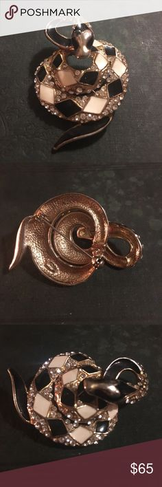 Rare Vintage Gold Rhinestone Snake Fashion Brooch Show - Stopper!!!! True vintage !! 70-80 era. High end designer piece ! Signed bid can make out the ... to small for me. But these are normally made by A&E. They are sought after , Collectable & rare! This one has lite wear such as some rub. It also has the pin loose but it functions just fine. Could prolly fix easy. All stones. Gold tone. Heavy. Gorgeous !! 3D. Collectors pC. Please be happy w said if buy. See pics. vintage Jewelry Brooches