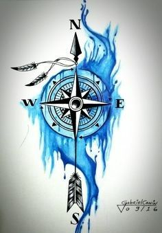 ▷ More than 142 inspiring Compass Tattoo ideas and pictures! - idea for . - ▷ More than 142 inspiring Compass Tattoo ideas and pictures! – Idea for a nice blue big tattoo - Compass Drawing, Compass Tattoo Design, Feather Tattoo Design, Feather Tattoos, Feather Art, Arrow Compass Tattoo, Flower Tattoos, Large Tattoos, Trendy Tattoos