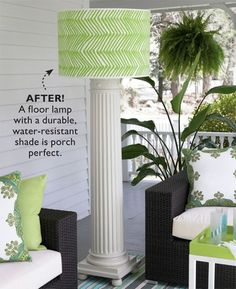 A column, converted into a lamp with a weather resistant shade. Eddie Ross does it again. I LOVE his designs. Here's the tutorial: http://www.southernliving.com/home-garden/decorating/how-to-turn-columns-into-floor-lamps-00417000073841/