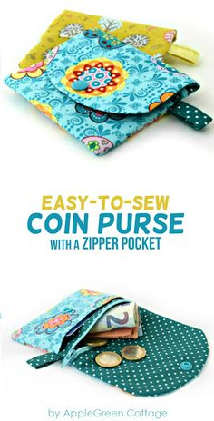 Coin Purse Pattern With Zipper Pocket - AppleGreen Cottage- Coin purse sewing pattern with zipper. A cute little coin purse PDF pattern complete with beginner friendly instructions. Easy Sewing Projects, Sewing Projects For Beginners, Sewing Hacks, Sewing Tutorials, Sewing Crafts, Sewing Tips, Sewing Basics, Sewing Ideas, Purse Patterns