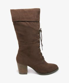 Cuffed Lace-Up Boots   FOREVER 21 - 2021841108