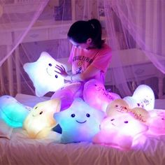 I like relaxing amidst my light up plush pillows, too. cutest evet star shape kawaii plushie pillows i have got to make me one of these
