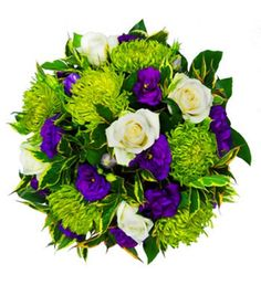 A heartbreakingly lovely small posy. The vivid contrast between the green shamrock chrysanthemum, the pure white roses and the purple lisianthus make this a perfect tribute arrangement when the right words are hard to find.