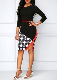 Black Side Slit Printed Sheath Dress on sale only US$32.06 now, buy cheap Black Side Slit Printed Sheath Dress at liligal.com