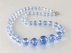 Art Deco Czech sapphire Blue crystal Necklace 1930s jewelry