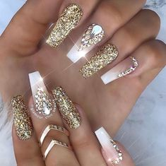 Beautiful coffin nails with gold glitter and rhinestones on french fade nails by @glamour_chic_beauty Ugly Duckling Nails page is dedicated to promoting quality, inspirational nails created by International Nail Artists