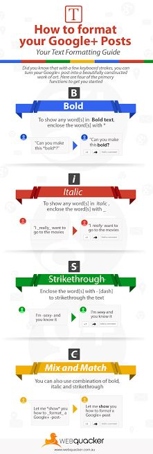 [Infographic] How to format your Google+ Posts - via WEBquacker