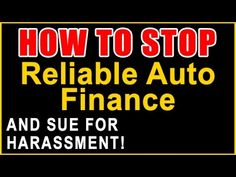 Reliable Auto Finance >> 139 Best How To Stop Images Credit Companies Debt Car