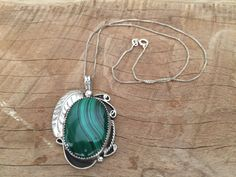 Large Navajo Sterling Malachite Pendant by SionainnRiverVintage