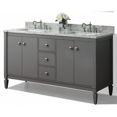 """Something uniquely different. The Kayleigh collection is a striking transitional design that inspires individuality. No details were in crafting the Kayleigh 60"""" Vanity set from selecting quality wood to using the most durable soft-close hardware. The Vanity set includes a furniture style cabinet, imported Italian Cararra white marble top with a 4"""" backsplash, wide rectangular undermount basin, solid wood dovetailed drawer boxes, soft-close doors, drawers and brushed nickel hardware..."""