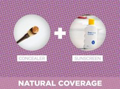 "If you want to hide blemishes & imperfections without looking ""made up"" try using a concealer and sun screen...just be sure to use a sun protecting moisturizer with at least 30 SPF..* not using foundation allows your pores to breathe."