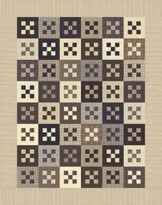Framed Nine patch block in this quilt called Tackle Box by Primitive Gatherings.