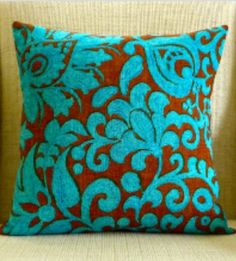 chocolate brown, aqua and gray - Bing Images Pillow Forms, Pillow Inserts, Pillow Covers, Sewing Closet, Brown Canvas, Brown Floral, Vintage Cotton, Coastal Decor, Cotton Canvas