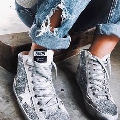 e19f7703ddfe Add a dose of glitter to your ensemble with Golden Goose sneakers. Moda  Fashion,