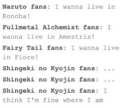 Naruto, Fullmetal Alchemist, Fairy Tail, and Attack on Titan