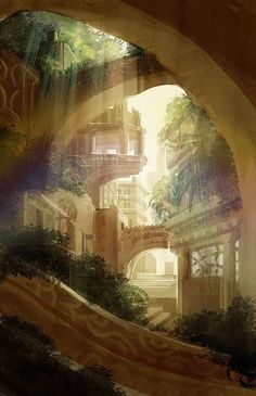 This is almost how I imagine Torsum to look around Helens house Fantasy City, Fantasy Kunst, Fantasy Places, Fantasy World, Digital Art Fantasy, Fantasy Castle, Fantasy Setting, Fantasy Landscape, Fantasy Art Landscapes