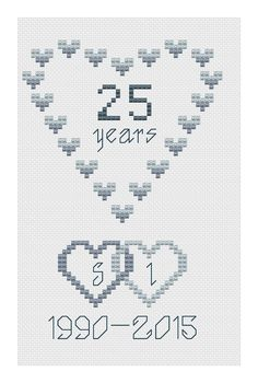 Silver Wedding Hearts Cross Stitch Card Kit by Florashell for sale online Cross Stitch Owl, Cross Stitch Cards, Simple Cross Stitch, Modern Cross Stitch, Cross Stitch Kits, Counted Cross Stitch Patterns, Cross Stitch Designs, Cross Stitching, Cross Stitch Embroidery